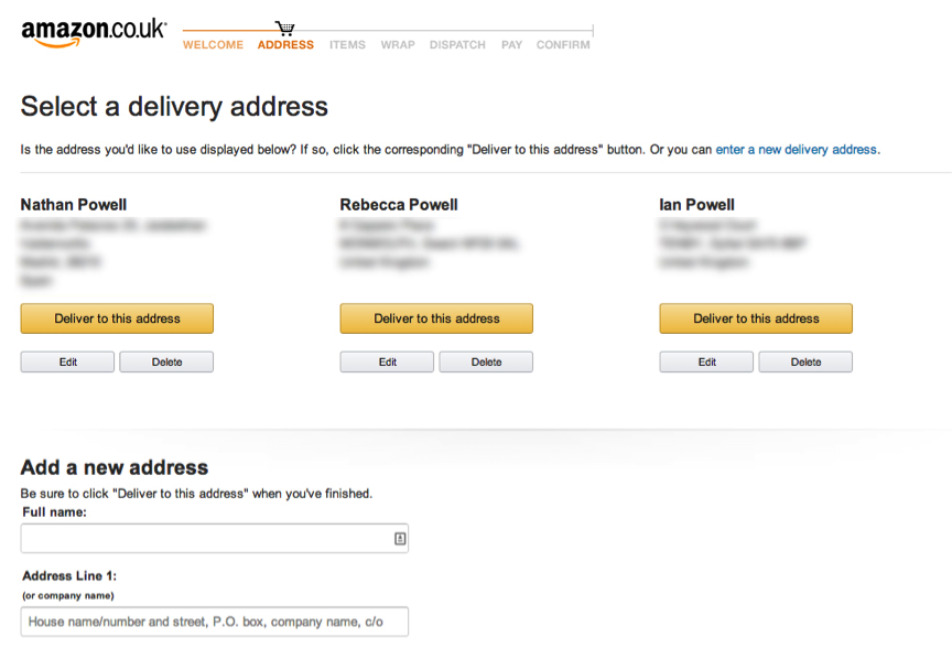 amazon delivery UX