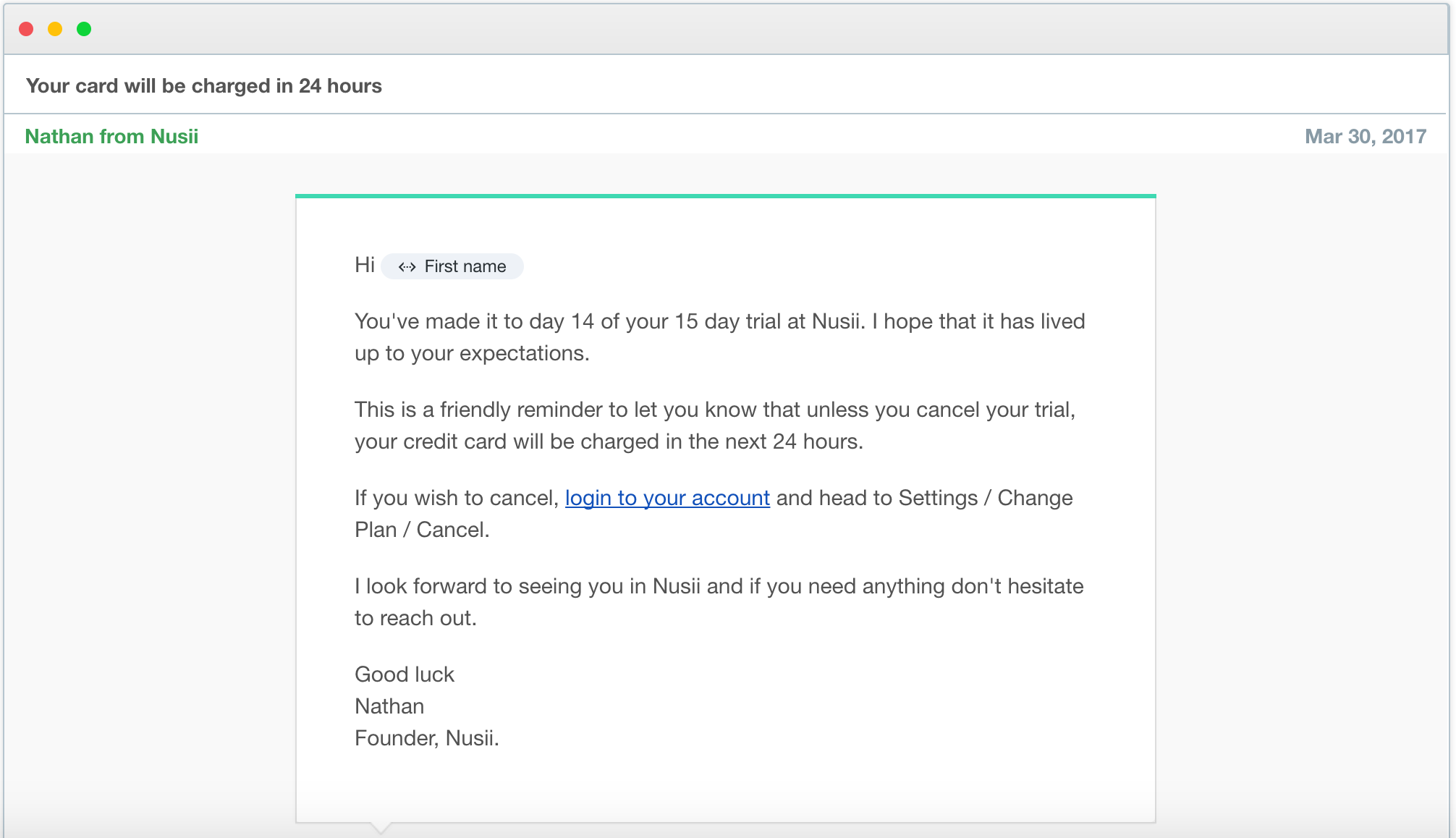 Nusii Abandoned Cart Trial Ending Email