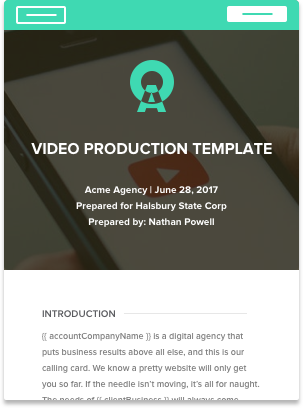 video production proposal template